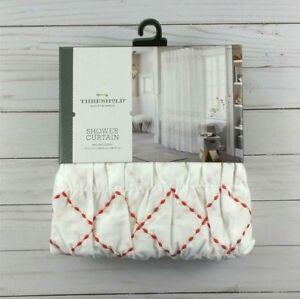 Fabric Shower Curtain Smocked Zigzag White Orange 72x72