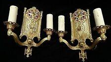 Tudor Romance Antique metal art gothic wall sconces light fixture Pair