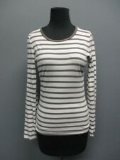 JIGSAW White Striped Long Sleeves Crew Neck Casual Top Blouse Sz S EE7388