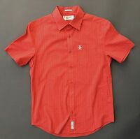 TRENDY! PENGUIN BY MUSINGWEAR RED PLAID SHORT SLEEVE SHIRT SMALL S