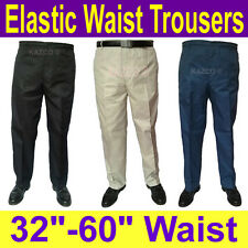 "Mens Elasticated Waist Trousers 32""-60"" Waist. New Smart Elastic Rugby Trousers."