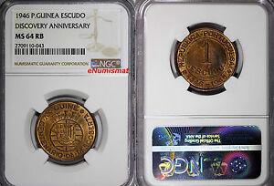 Guinea-Bissau Bronze 1946 Escudo NGC MS64 RB Discovery Anniversary KM# 7