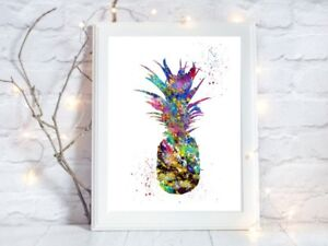 pineapple print fruit watercolour a4 glossy  picture gift 2 unframed