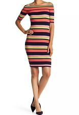 Trina Turk Necha Ribbed Off The Shoulder Sweater Dress Colorful Striped Size L
