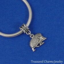 Silver HEDGEHOG Dangle Bead CHARM Porcupine Critter fits EUROPEAN Bracelet