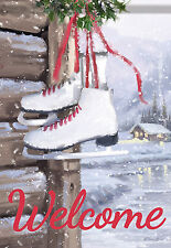 """Ice Skates Winter Welcome Garden Flag Cabin Lake Double Sided Banner 13"""" x 18"""""""