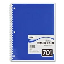 "Mead Spiral Notebook,1-Subject,College Rule,70 Sh,10-1/2""x8"",Ast. Case Pack 21"