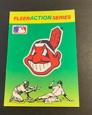 1990 Fleer Baseball Action Series Sticker Card Cleveland Indians Chief Wahoo