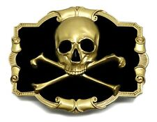 Skull & Crossed Bones Belt Buckle Black & Gold Design Authentic Dragon Designs