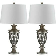Safavieh Table Lamp 28.5 in. Urn Antique Silver White Shade Plug-In (Set of 2)
