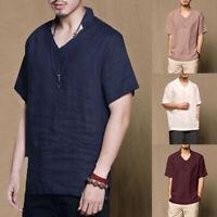 Men Summer Linen Short Sleeve Casual Shirts Ethnic Retro Solid V-neck Kaftan Top