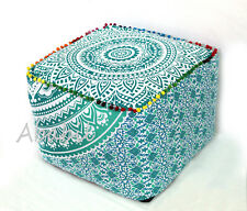 """18X18"""" Square Ottoman Pouf Cover Indian Green Ombrey Mandala Footstool Throw"""