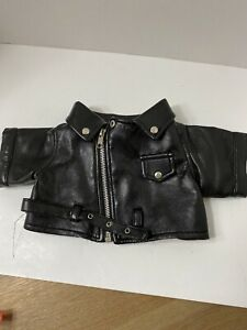 Build a Bear BAB Black Faux Leather Motorcycle Jacket Moto Style Zips