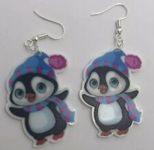 Christmas Penguin scarf and hat cute Earrings H037 Xmas Party 6.8 Cm Long