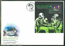 CENTRAL AFRICA  2013 BOY SCOUTS PLAYING CHESS  SOUVENIR SHEET FIRST DAY COVER