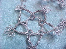 Tatting 2 Silver Stars Tatted  Crazy Quilts Scrapbooks Cards Applique Earrings