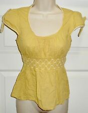 Edme & Esyllte Anthropologie Yellow White Empire Waist Tie Sleeve Top Blouse 0