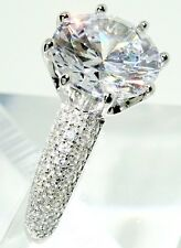 Brilliant Round Diamond Pave Engagement Ring 925 Sterling Silver 4.9CT  SZ5-9