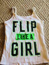 "Girls Justice Gymnastics Cami Tank Top Shirt ""flip like a girl"" Size 16"