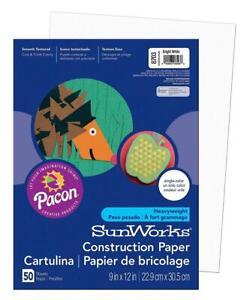 "SunWorks Construction Paper, Bright White, 9"" x 12"", 50-Count, White"