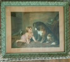 Antique Lithograph Print 'Can't You Talk' Dog & Child Painted Frame Estate Art