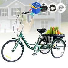 """3 Räder 24"""" Dreirad für Erwachsene mit Einkaufskorb 3-Rad Fahrrad Trike Grün"""