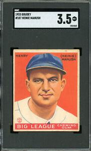 1933 Goudey #187    Heinie Manush    HOF    Senators    SGC 3.5  !!