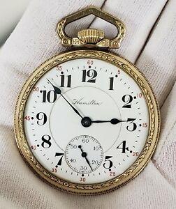 Hamilton 972 ADJUSTED 5 Positions GJS Model 2 Pocket Watch MINT DIAL Runs c1921