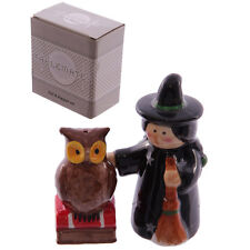 Cute CERAMIC Witch and Owl streghe sale e pepe crocette Set Rockabilly