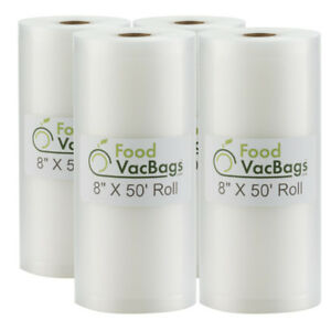 """8"""" x 50' FoodVacBags Vacuum Sealer Roll for Food Saver - Buy More, Save More!!"""
