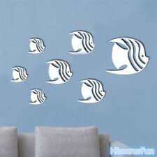 Fish Mirror Stlye Silver Removable Decal Vinyl Art Wall Sticker Home Decor