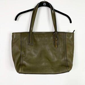 Fossil Emma Tote Shoulder Bag Purse Olive Green Cow Hide Leather Zipper ZB6844
