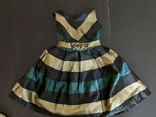 NWT Bonnie Jean Green Gold Black Special Occasion Dress 4 Years