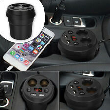 Car Cup Type Charger Mount 2 Cigarette Lighter Socket Dual USB Adapter 3.1A 12V