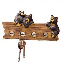 "New Black Bear Key Holder Resin Iron 4 Hooks 7.5""W x 3.5""H Mounts Black/Brown"