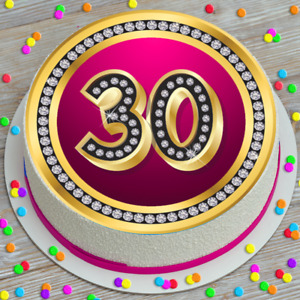 LARGE CAKE TOPPER 7.5 INCH EDIBLE ICING PINK DIAMONDS 30TH CELEBRATION KCL016274
