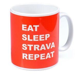 EAT SLEEP STRAVA REPEAT Ceramic Mug Cyclist Runner Gift Cycling