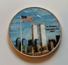 2001 US Silver Eagle COLORIZED 1 troy oz 999 WTC Twin Towers 9/11 God Bless Nice