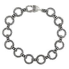 Andrea Candela Sterling Silver Diamond Cut Round Halo Link Bracelet ACB206-SL