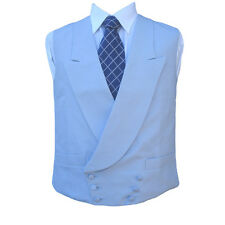 "Double Breasted Irish Linen Waistcoat in Powder Blue 46"" Regular"