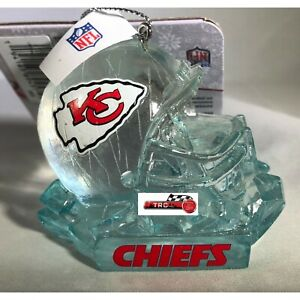 Kansas City Chiefs NFL Ice Sculpture Helmet Holiday Ornament