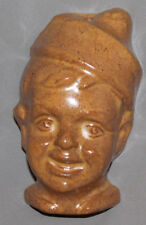 ANTIQUE EUROPEAN HAND MADE BOY HEAD WALL HANGING GLAZED REDWARE POTTERY FIGURINE