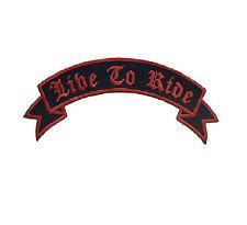 Live to Ride Patch Top Rocker Red on Black For Biker Motorcycle Jacket vest Back