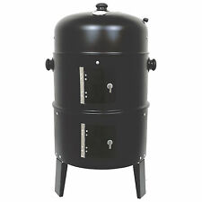 SMOKER BARBECUE BBQ 3 IN 1 CHARCOAL GRILL OUTDOOR GARDEN COOKER CAMPING