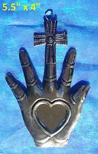 La Mano y Cruz Mexican Tin Ornament Heart & Cross in Hand Mirror Milagro 2/$16