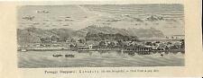 Stampa antica KANAGAWA veduta panoramica Giappone Japan 1894 Old antique print