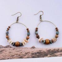Fashion Bohemian Boho Round Wooden Beaded Drop Dangle Jewellery Gpsy Earrings