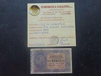 BIGLIETTO DI STATO LIRE 10 UMBERTO I 25 10 1892 MOLTO RARA certificata BB+
