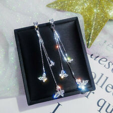 Fashion Lovely Butterfly Crystal Zircon Long Tassel Drop Dangle Earrings Jewelry