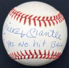 Mickey Mantle 7 Years No Hit Ball K's Walks Signed Baseball JSA LOA Yankees HOF